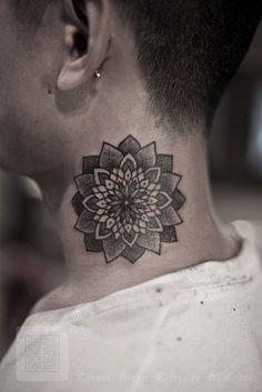 neck tattoo idea, mandala tattoo, lotus tattoo, mandala neck #tattoo design #tattoo patterns| http://awesometattoophotos.blogspot.com