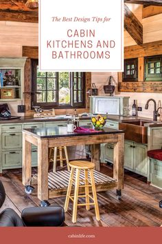 Follow these tips to design a lovely kitchen or bathroom for your cabin. #kitchen #bathroom #design #cabin