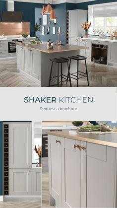 Grey Kitchen Designs, Kitchen Room Design, Home Decor Kitchen, Interior Design Kitchen, Shaker Style Kitchens, Shaker Kitchen, Home Kitchens, Open Plan Kitchen Dining Living, Open Plan Kitchen Diner
