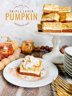 Triple Layer Pumpkin Cheesecake Bars. Creamy layers of cheesecake and pumpkin cheesecake with a ginger cinnamon crust for a low-carb treat perfect for Fall!