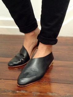 The Sandy black kidskin with flat combo heel by SevillaSmith Handmade to order shoes.