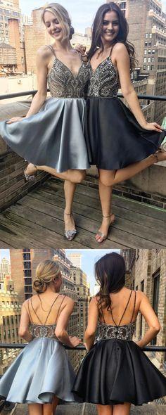 Adorable Homecoming Dress,Beaded Homecoming Dress,Homecoming Dress,Plunging V-neckline Short Party Dress,Cute Dress