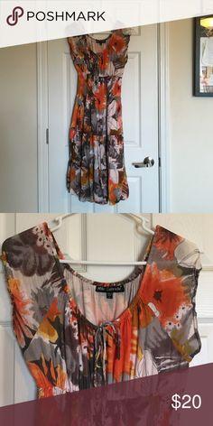 Tiered sundress Gray, orange, and cream tiered sundress. Mlle Gabrielle Dresses Midi