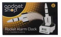 White rocket alarm clock with digital display, snooze function, light and try me function to launch the rocket. Silence the alarm by returning the rocket back to its pad. Full instructions included. requires 4x AAA batteries (not included) & 1x Button Cell (included).