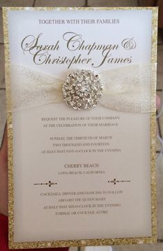 Wedding invites: Luxurious Gold Wedding Invitation #gold #bling #weddinginvites #blingwedding