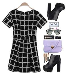 """Newchic~ little black dress~"" by gabygirafe ❤ liked on Polyvore featuring Witchery, Ray-Ban, Huda Beauty and David Jones"