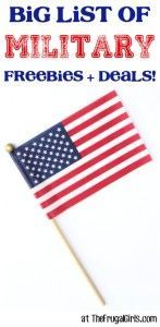 BIG List of Military Freebies and Discounts at TheFrugalGirls.com