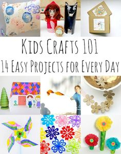 Kids Crafts 101 - 14 Gorgeous Kids Craft Ideas for Any Time Any Day! Rainy Day? Snow Day? Summer Camp? Need a craft for every day materials? Take a look a these fun ideas - 14 Every Kids Crafts to keep the kids busy - irrespective of the weather!