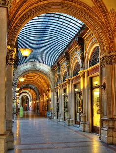 Palais Ferstel Passage, Vienna, Austria ---- this was always a favorite stroll thru from the Freyung to Herrengasse -- lots of good spots in  around - cafés Orlando di Castellano, Centrale - a very nice home store at the corner  as of 2013 a nice French brasserie style place