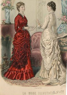 Conquering the Croissants Part I: Researching Simplicity 4244 – The Pragmatic Costumer Victorian Era Dresses, Victorian Era Fashion, 1870s Fashion, Vintage Fashion, Men's Fashion, Fashion Tips, Vintage Gowns, Mode Vintage, Vintage Outfits