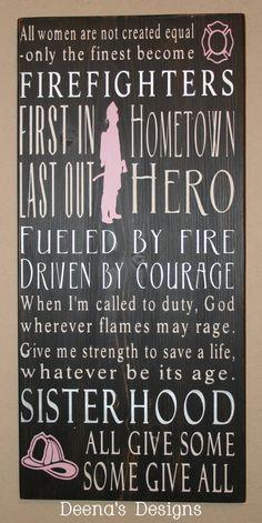Female Firefighter Subway Sign by DeenasDesign on Etsy, $58.00 - http://www.facebook.com/DeenasDesign
