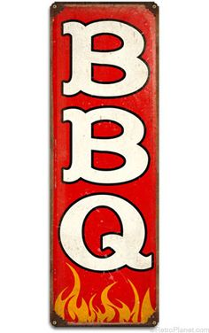 image of BBQ Vertical Tin Sign