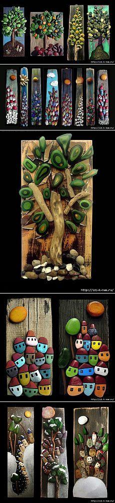 Hermosas artesanías hechas de piedras.