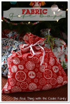 The Real Thing with the Coake Family: Gift Wrapping Ideas - Fabric Gift Bags #GiftWrap #Gift Bags