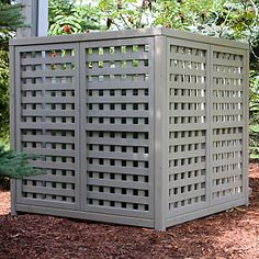 Love the color. It looks more sturdy than a basic trellis and it has good ventilation for an AC unit cover. Air Conditioner Cover Outdoor, Air Conditioner Screen, Ac Unit Cover, Ac Cover, Hide Ac Units, Lattice Screen, Pool Equipment, Outdoor Projects, Outdoor Ideas