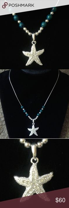 """Handcrafted Starfish/Chrysocolla 925/Rhodium 16""""Nk Handcrafted by Elle Gale (me), One of a Kind,Solid 925 Sterling Silver Cz Starfish Pendant 16"""" Necklace w/Genuine Chrysocolla Beads, Starfish is Also Rhodium Plated...Comes With a Packaged, Anti-Tarnish, Polishing Cloth and a Jewelry Pouch or Gift Box. Elle Gale Jewelry Necklaces"""