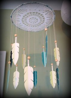Dream Catcher feather mobile.