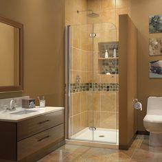 DreamLine AquaFold Shower Door 72 in. H x 33.5 in. W Clear Glass Shower Door in Chrome Finish