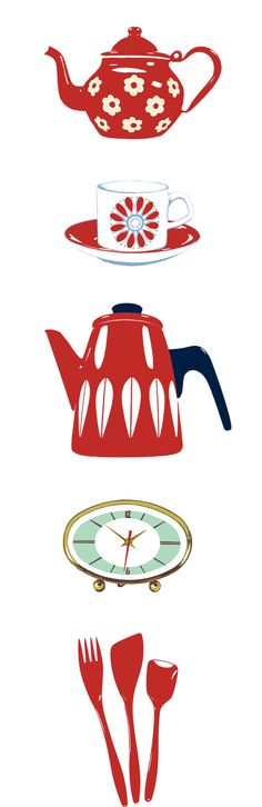 kitchen cook dishes teapot kettle clock pitcher silverwear spoon drink teacup cup spatula fork coffee tea coffeepot