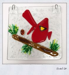 Fused glass red cardinal on a branch Paint Your Own Pottery, Pottery Painting, Fused Glass, Mosaic, Red, Mosaics, Tile Mosaics, Stained Glass