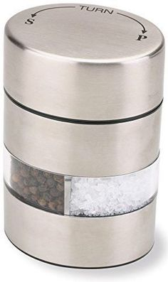"""Olde Thompson 4"""" Stainless Steel Pepper Mill and Salt Mill 2-in-1 Combo"""
