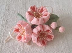 Pink cherry blossom Sakura Cherry Blossom, Crochet Fabric, Fabric Flowers, Food Art, Sewing Crafts, Tulle, Ribbon, Hair Accessories, Pink