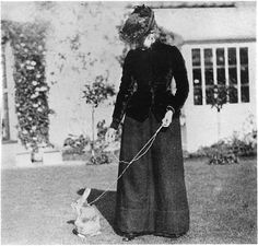 Beatrix Potter, born in 1866, author of the Peter Rabbit books, pictured with her pet bunny