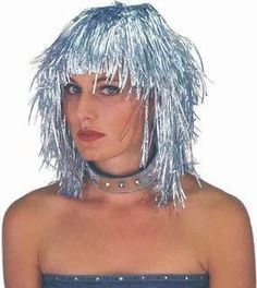 Silver Tinsel Wig. Costume Wigs, Womens Wigs, Human Hair Wigs, Wig Hairstyles, Dreadlocks, Hair Styles, Silver, Beauty, Hair Plait Styles