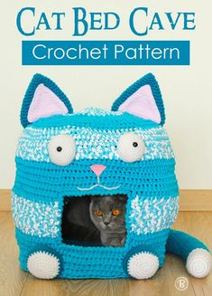 Crazy cat lady approved. This fun and useful cat cave. Instant download pattern to crochet for your feline friend. #catcave, #catcrochet, #crazycatlady, #affiliate