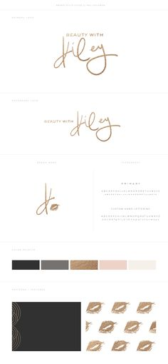 Beauty With Kiley Makeup Brand by Mel Volkman Feminine Brand Modern Lettering Modern Calligraphy Brush Lettering Hand Lettering Gold Foil Modern Branding Modern Logo Custom Logo Design Beautiful Branding Beauty Brand