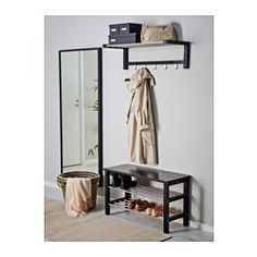 Back entry TJUSIG Bench with shoe storage - black - IKEA Security shutters improve your home securit Entryway Shoe Storage, Bench With Shoe Storage, Small Storage, Diy Storage, Ikea Tjusig, Interior Design Living Room, Interior Decorating, Ikea Bank, Couch Furniture