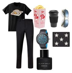 """""""Untitled #35"""" by cool-cmx ❤ liked on Polyvore featuring Pusheen, Homage, Ray-Ban, Ted Baker, Lacoste, Yves Saint Laurent, Kenneth Cole, men's fashion and menswear"""