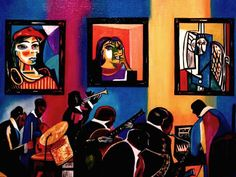 "k Madison Moore Portfolio: ""Bearden Celebrating Picasso,"" Museum Painting,"" by k Madison Moore"