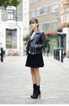 Graphic tee + black skater skirt + Whistles Patti leather biker + ankle boots