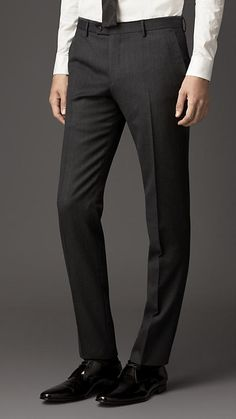 $450, Charcoal Wool Dress Pants: Burberry Slim Fit Velvet Detail Wool Flannel Trousers. Sold by Burberry. Click for more info: http://lookastic.com/men/shop_items/12639/redirect