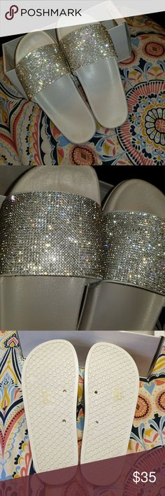 White sandal/slides White, silver rhinestone, very cute/classy, says size Euro 39 but it runs in a smaller size like 6-7.5 because my feet are a little too big for them and I'm an 8-8.5 •Offers acceptable!! Shoes Sandals