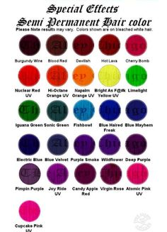 Special Effects hair dye color chart.