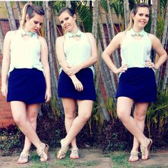 Fresh and comfy look. Mint top, navy skirt and fringes flat. More pics at http://nathaliakalil.com.br