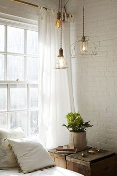 Painted brick wall in a rustic bedroom