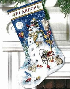 Snowman and Friends Stocking by Dimensions - Cross Stitch Kits & Patterns