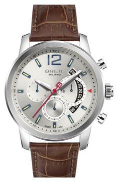 Men's Breil 'Miglia' Chronograph Leather Strap Watch
