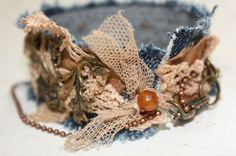 Textile Bracelet - Reclaimed Denim Vintage Hand Dyed Silk and Lace