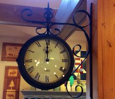 """Double Sided Wall Clock with Scroll - 12""""W x 16.5""""H"""