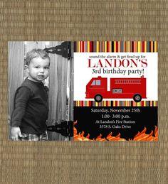 Fire Truck Birthday Invitation on Etsy, $15.00
