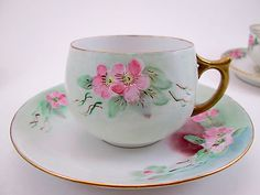 Vintage Epiag Hand Painted Tea Cup and Saucer Pink Apple Blossoms
