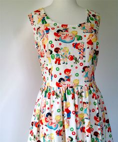 Ladies Dress, Tea Dress, Retro, Vintage, Candy Kids, Lolly Shop / mothers day | Tina Barton Designs | madeit.com.au