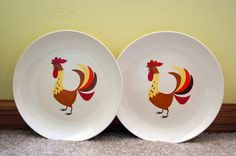 Holt Howard Rooster Plates Kitschy Yellow by SentimentalFavorites, $30.00