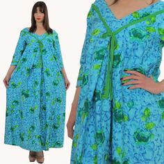 Vintage 60s 70s Blue Floral Boho Maxi Dress by SHABBYBABEVINTAGE, $68.00