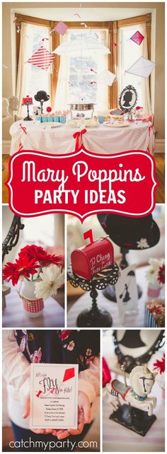 Check out this beautiful party featuring Mary Poppins! See more party ideas at… Music Theme Birthday, Music Themed Parties, Music Party, 4th Birthday, Birthday Ideas, Mary Poppins Musical, Mary Poppins Costume Kids, House Party Movie, Jolly Holiday