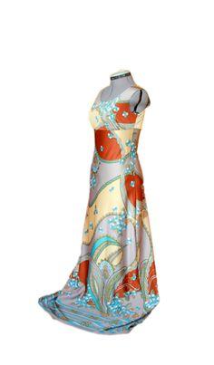 #Rare #Unique #Boho #DesignerDress, #Elegant, #Pastel Colors, #Vintage #Floral Print, #Bohemianchic, #Seventies #Gala #Gown, #Long #Bohemian, #Italian #1973 by DurgaUniverse on Etsy